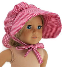 Checked Pioneer Bonnet Hat for American Girl Kirsten Doll Clothes Reproduction