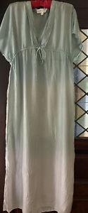 LILKA Women's S Silk Green Grey Ombre Maxi Long Dress Anthropologie