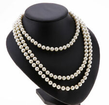 Freshwater Pear Like White drop pearl necklace Beaded 150cm Long Chain Rope Bead