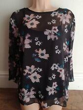 Matalan Black Floral print top size 14