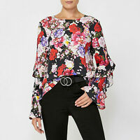 DECJUBA Casey Ruffle Long Sleeve Top Black Pink Floral Bright Colourful Size 12