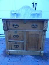 """Marble Top Oak Wash Stand With Stands 30""""W by 17 5/8""""D by 40""""H Drawers Rollers"""