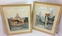 Lisieux by Lucien Veder Signed French Etching Le Garf Set of 2 RARE