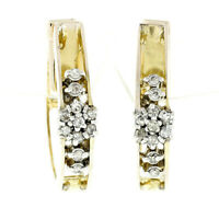 Vintage 14k Gold 0.32ctw Round Single Cut Diamond Flower Huggie Hoop Earrings