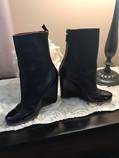 LANVIN Black & Purple Booties  Wedges Shoes Size 35,5