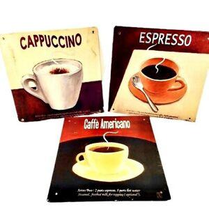 Vintage Metal Wall Hanging Decor Bundle of 3-Cappuccino Espresso Caffe Americano