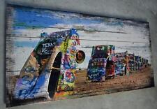 Holzbild Holzschild CADILLAC RANCH Bild Wandbild Vintage Shabby Chic 100 x 50 cm