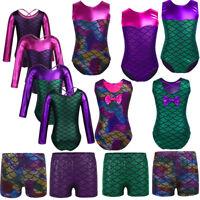 Girls Mermaid Gymnastics Leotard Dress Ballet Dance Tutu Skirt Dancewear Costume