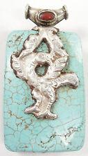 """Sterling Silver Tibetan Turquoise Coral Reversible Pendant Animal Bird Large 3"""""""