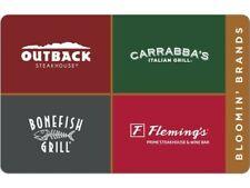 Outback Carrabba's bonefish flemings Restaurant Gift Card $50 carrabbas