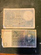 More details for dix francs and 10 reichsmark notes - war period?