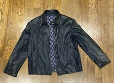 100% Leather Silk Mens Brioni Leather Jacket Sz 56 Navy Blue - FREE SHIPPING