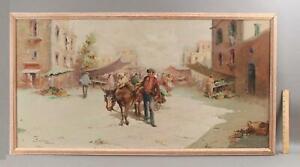 Large Italian Impressionist Street Scene Market Man w/ Donkey Cart Oil Painting