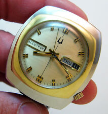 RARE SERVICED 2182 ACCUTRON  SEE THRU BACK STAINLESS STEEL TUNING FORK WATCH N0