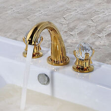 Gold Bathroom Basin Sink Faucet Crystal 2-Handles Brass Mixer Tap Luxury 3-Holes
