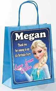 PERSONALISED FROZEN BIRTHDAY PARTY GIFT BAGS PRINCESS (SOLD IN PACKS) pink/blue