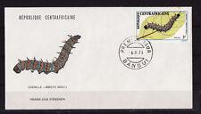 d/ Centrafrique  enveloppe   faune animaux   chenille     1973