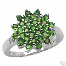 Genuine Chrome Diopside Rhodium / Sterling Ring Size 7.0   # CDR3