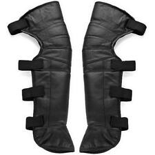Motorcycle Black Half Chaps Real Leather With Black Legging Warmer Gaiter 1 Pair