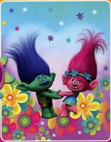 "Blanket Throw Fleece 40""x50"" Soft Warm Trolls Poppy & Branch Holding Hands NEW"