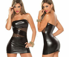 Dress Womens Faux Leather Strapless RolePlay Dominatrix Pole Dance 2XL3XL New