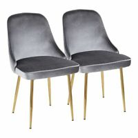 OPEN BOX Marcel Contemporary Dining Chair with Gold Frame and Blue Velvet Fab...