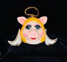 Vintage Miss Piggy angel Christmas ornament, Jim Henson Muppets paper mache