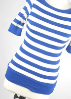 New look Blue Striped Cotton Womens Jumper Size 10 (Regular)