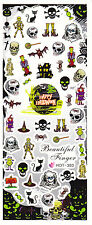 Nail Art Water Decals Halloween Skull Frankenstein Witch Spider Witch Hat HOT303