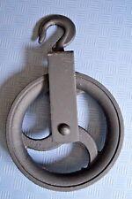180 mm Umlenkrolle mit Haken Metall Seilrolle Heberolle Hebehaken Baurolle