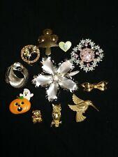 Gold Art Deco Rhinestones Brooches Job Lot of Antique Jewelry Victorian