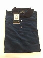 Dunhill Giza Cotton Polo Shirt, Navy & Blue stripe