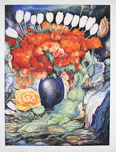 Ernst fuchs - bouquet with white tulips - signed