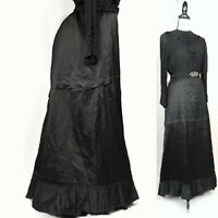 Fearfully 1800s victorian beautiful antique black petticoat exquisite condition