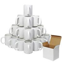 36 Tasses Blanches Personnalisables Revêtues en Polymère avec Boites en Carton