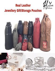 LEATHER DRAWSTRING POUCH GIFT TOILETRY WASH BAGS CASE WEDDING JEWELLERY STORAGE