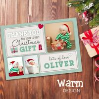 10 x Personalised Christmas Thank You Cards Notes With Photo + Envelopes