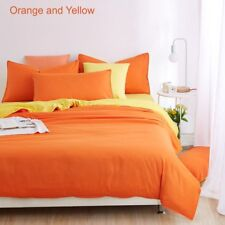 Queen Bed Duvet Quilt Cover Flat Sheet and Pillowcases 4 piece SET Orange Yellow
