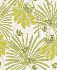 Crown Tropicana Palmeras Verde/blanco brillo textura del papel pintado (M0945)