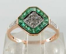 DIVINE 9CT ROSE GOLD COLOMBIAN EMERALD & DIAMOND ART DECO INS RING FREE RSIZE