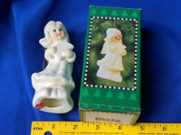 """NOS Angel Bisque Porcelain Ornament Xmas Tree in Box 4.5"""" White Gold Paint VTG"""
