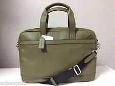 Coach Hudson Smooth Leather Briefcase Bag in Surplus Green F71561