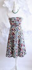 J Crew Strapless Plaid Patchwork A-Line Dress 2XS Cttn Blue/Red/White