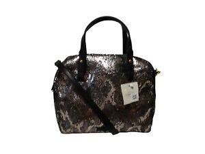 NWT Fossil Rachel Satchel Snake Print Silver Metallic Leather Bag Black