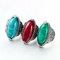 Style Tibetan Antique Silver Plated Oval Turquoise Flower Tail Finger Ring