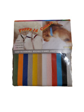 """12 Cotton Puppy Id Collars (Various Colors) 34mm/13.3"""" Adjustable"""