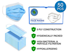 3-Ply Disposable Face Mask - 50 Pcs - Breathable, Hypoallergenic - Usa Ship!