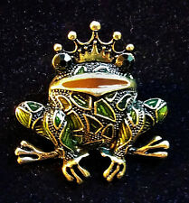 Crown Frog Prince Vintage Style and Sparkle Rhinestone Enamel Collector Brooch