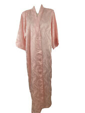 Lucie Ann Beverly Hills Womens Vtg Robe Sz Average Tonal Satin Pink Leaf Print
