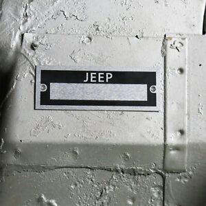 Jeep Custom Dataplate Vehicle ID Serial # Tag Iron Duke Dauntless CJ DJ Wrangler